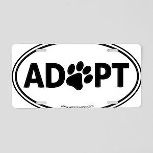 Adopt Black Aluminum License Plate
