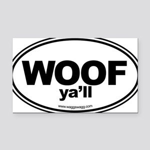 WOOF Yall Black Rectangle Car Magnet