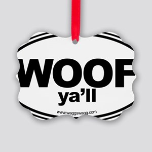 WOOF Yall Black Picture Ornament