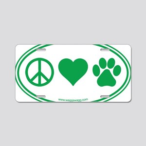 Peace Love Paws Green Aluminum License Plate