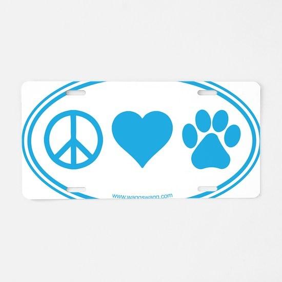 Peace Love Paws Blue Aluminum License Plate