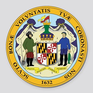 Great Seal of Maryland Round Car Magnet