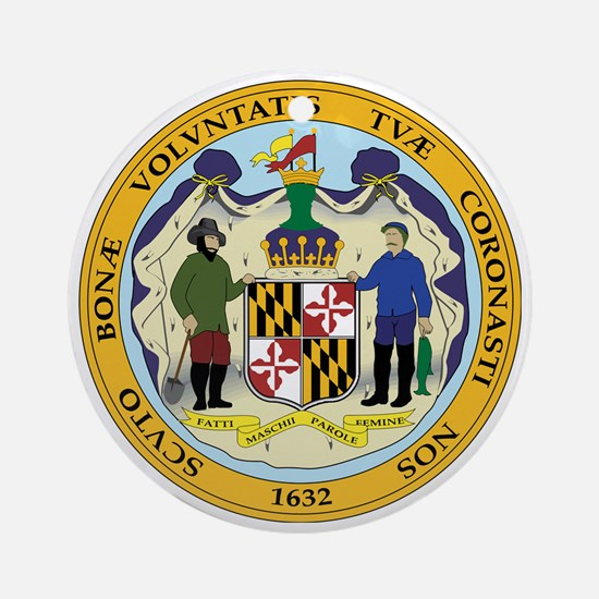 Great Seal of Maryland Round Ornament