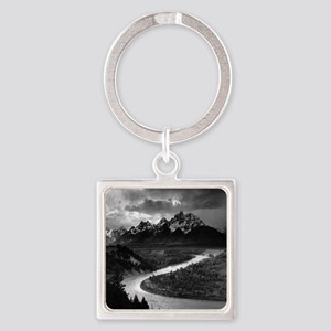 Ansel Adams The Tetons and the Sna Square Keychain