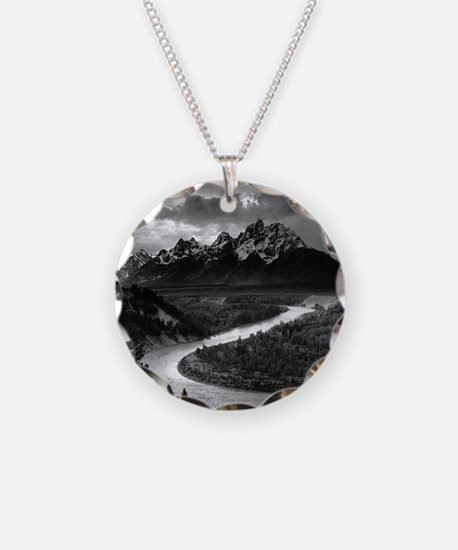 Ansel Adams The Tetons and t Necklace Circle Charm