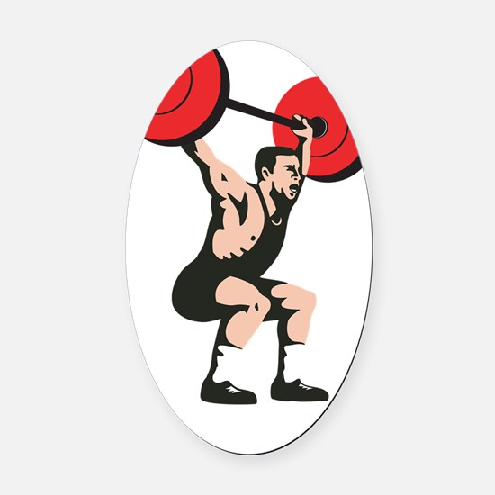 Weightlifter Lifting Weights Retro Oval Car Magnet