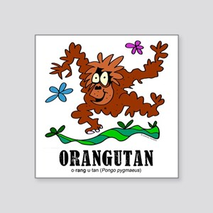"Cartoon Orangutan by Lorenz Square Sticker 3"" x 3"""