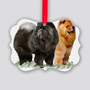 red and black chows Picture Ornament
