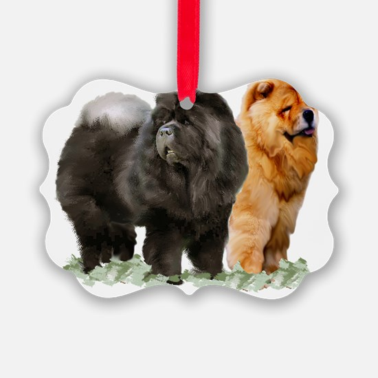 red and black chows Ornament