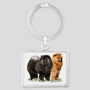 red and black chows Landscape Keychain