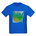 USA Cartoon Map Kids Dark T-Shirt