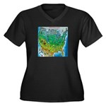 USA Cartoon Map Women's Plus Size V-Neck Dark T-Sh