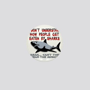 Danger Music Sharks Funny T-Shirt Mini Button