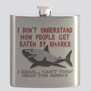Danger Music Sharks Funny T-Shirt Flask