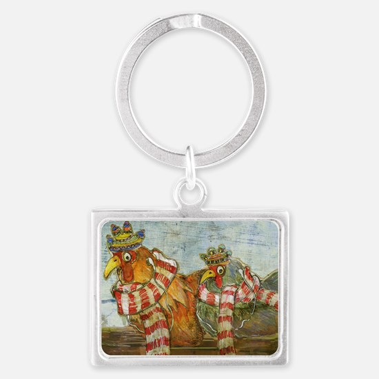 Chickens with Scarves - Laptop  Landscape Keychain