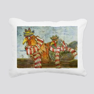 Chickens with Scarves -  Rectangular Canvas Pillow