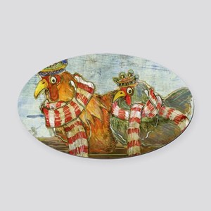 Chickens with Scarves - Laptop Ski Oval Car Magnet