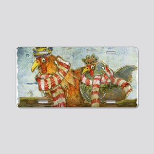 Chickens with Scarves - Lap Aluminum License Plate
