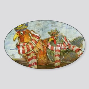 Chickens with Scarves - Laptop Skin Sticker (Oval)