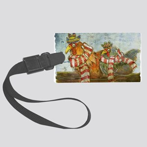 Chickens with Scarves - Laptop S Large Luggage Tag