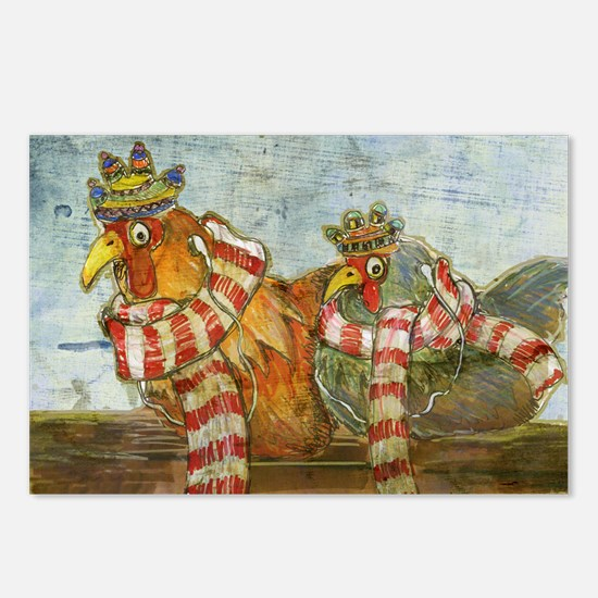 Chickens with Scarves - L Postcards (Package of 8)
