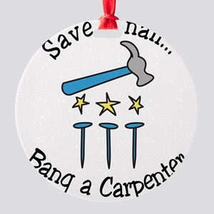 Save A Nail Round Ornament