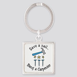 Save A Nail Square Keychain