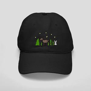 Reindeer Scene Black Cap