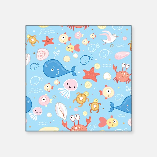 "Cute Sea Life Square Sticker 3"" x 3"""