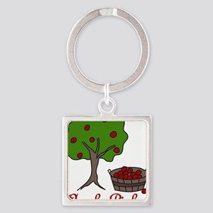 Apple Picker Square Keychain