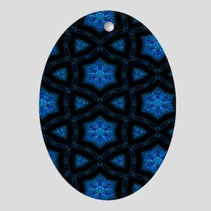Blue Stars Pattern Oval Ornament