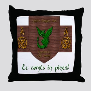 It Comes In Pints! Green Dragon Throw Pillow