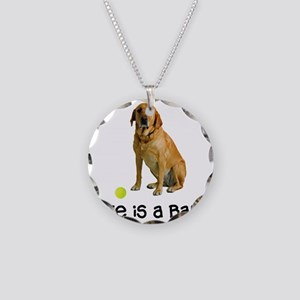 Yellow Lab Life Necklace Circle Charm