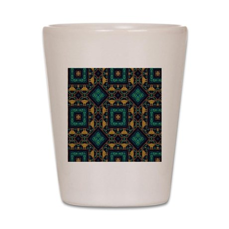 Green and Gold Pattern Shot Glass