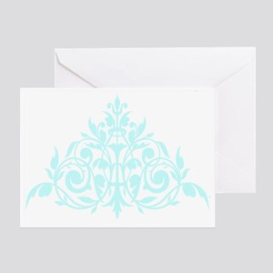 Blue green damask print Greeting Card
