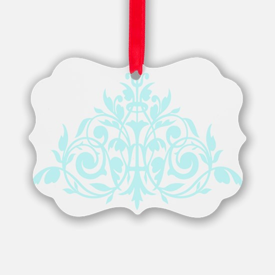 Blue green damask print Ornament
