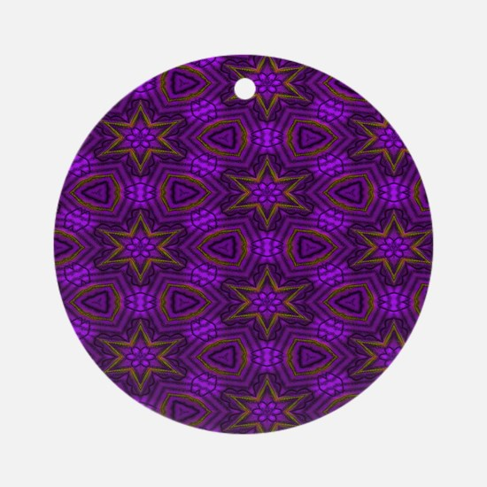 Purple and Gold Stars Pattern  Show Round Ornament