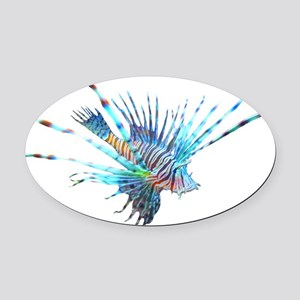 Lion Fish 1 Pale Blue Oval Car Magnet