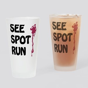 see spot run on white Drinking Glass