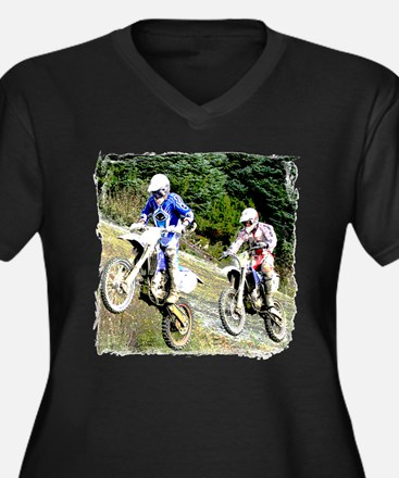 Two dirt bikers catching air Women's Plus Size V-N