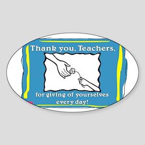 Thank you Teachers Sticker (Oval)