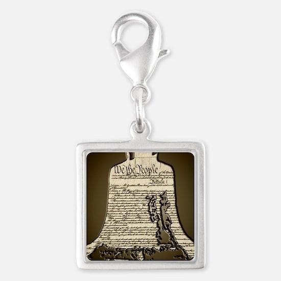 Philadelphia Liberty Bell Silver Square Charm