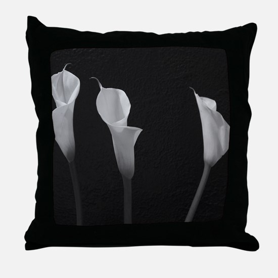 Black and White Lilies Throw Pillow
