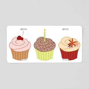 Three Cupcakes Aluminum License Plate