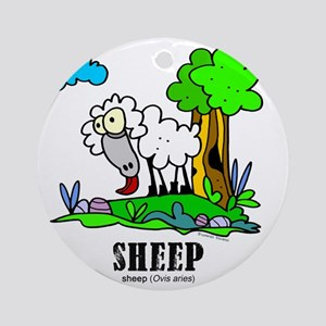 Cartoon Sheep by Lorenzo Round Ornament