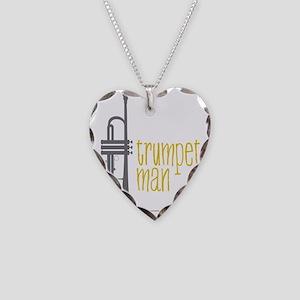 Trumpet Man Necklace Heart Charm