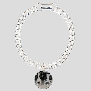 Border Collie Dog Art Charm Bracelet, One Charm