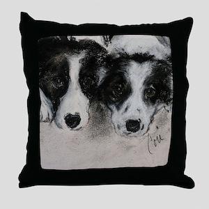 Border Collie Dog Art Throw Pillow