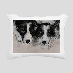 Border Collie Dog Art Rectangular Canvas Pillow