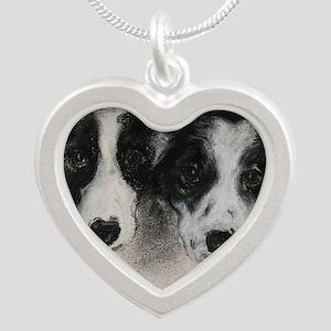 Border Collie Dog Art Silver Heart Necklace